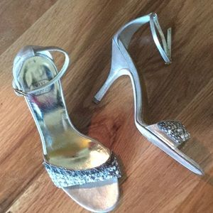 Mary Norton gold ankle strap heels with pearls